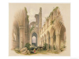 Kirkstall Abbey, Nave and Choir, The Monastic Ruins of Yorkshire, Engraved by George Hawkins Giclee Print by William Richardson