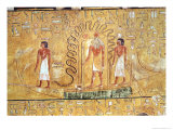 The Sun God Ra in His Solar Barque, Protected by the Coils of a Serpent, from the Tomb of Seti I Giclee Print by Egyptian 19th Dynasty