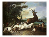 The Deer Hunt, 1718 Lmina gicle por Alexandre-Francois Desportes