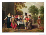 Elegant Company Seated at a Table in a Formal Garden Giclee Print by Christoffel Jacobsz Van Der Lamen