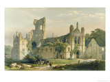 Kirkstall Abbey from the North West, The Monastic Ruins of Yorkshire, Engraved by George Hawkins Giclee Print by William Richardson