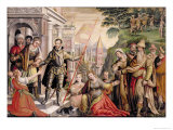 St. Sebastian as Officer of the Praetorian Guard Taking Leave of His Family, His Martyrdom Beyond Giclee Print by Lambert Van Noort