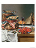Still Life of a Fish, Trout and Baby Lobsters, 1734 Giclee Print by Anton Friedrich Harms
