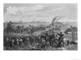 Landing of Troops on Roanoke Island, Burnside Expedition, 1862, Engraved by George E. Perine Giclee Print by William Momberger