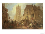 Cirencester Market Place, Abbey and King's Head Hotel in 1642-First Bloodshed of the Civil War Giclee Print by John Beecham