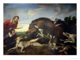 The Wild Boar Hunt, c.1640 Giclee Print by Frans Snyders Or Snijders