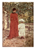 Woman and Child in the Garden, 1900 Giclee Print by Enrico Reycend