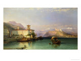 Arona and the Castle of Angera, Lake Maggiore, 1856 Giclee Print by George Edwards Hering