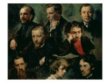 Self Portrait and Portraits of Friends, 1864 Giclee Print by Vasily Maximov