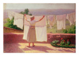 Washing in the Sun Giclee Print by Angelo Morbelli