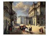Front of La Scala Theatre, 1852 Reproduction procédé giclée par Angelo Inganni