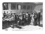 Sorting Out the Banknotes at the Paris Bank of France, Engraved by F. Mollet Giclee Print by Claverie