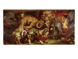 The Lion Hunt, 1855 Giclee Print by Eugene Delacroix