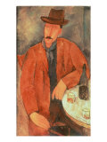 Seated Man Leaning on a Table Giclee Print by Amedeo Modigliani