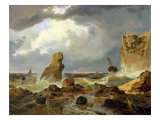 Surf on a Rocky Coast, 1835 Reproduction proc&#233;d&#233; gicl&#233;e par Andreas Achenbach