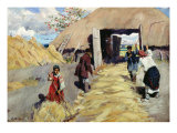 Threshing Floor, 1916 Giclee Print by Sergei Arsenevich Vinogradov