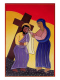 Jesus and Veronica, No. 6 in 14 Stations of the Cross Series, 2002 Giclee Print by Laura James