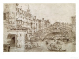 The Rialto Bridge, Venice Giclee Print by Francesco Guardi