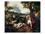 Adonis Killed by a Wild Boar Giclée-tryk af Francesco Albani