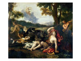 Adonis Killed by a Wild Boar Giclee Print by Francesco Albani