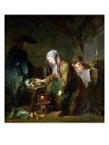 Preparing a Meal Giclee Print by Nicolas-bernard Lepicie