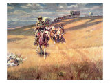 When Wagon Trails Were Dim Giclee Print by Charles Marion Russell