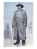 Chancellor Bismarck and His Dogs, La Revue Illustree Engraved by Florian, October 1887 Giclee Print by De La Barre