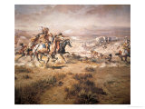 Attack on the Wagon Train, 1904 Giclée-tryk af Charles Marion Russell
