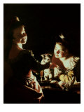 Two Girls Decorating a Kitten Giclee Print by Joseph Wright of Derby