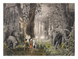 Elephant Hunt in Logalla, c.1859 Giclee Print by Graf Emanuel Andrasy