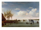 Dutch Landscape with Skaters Giclee Print by Salomon van Ruysdael