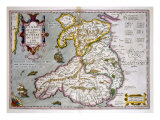 Map of Wales, Published c.1630 Giclee Print by Jodocus Hondius