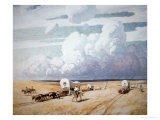 Covered Wagons Heading West Giclée-tryk af Newell Convers Wyeth