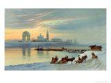 The Angara Embankment in Irkutsk, 1886 Giclee Print by Nikolai Florianovich Dobrovolsky