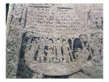 Detail of a Picture Stone Depicting the Last Voyage of the Deceased, from the Isle of Gotland Giclée-Druck von Viking