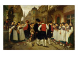 The Servants' Fair at Bouxwiller Giclee Print by Charles Francois Marchal