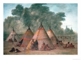 Sioux Village Giclee Print by George Catlin