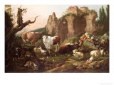 Farm Animals in a Landscape, 1685 Giclee Print by Johann Heinrich Roos