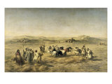 Threshing Wheat in Algeria, 1853 Giclee Print by Adolphe Pierre Leleux