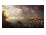 View of the Port of Lorient Giclee Print by Jean-Francois Hue