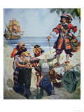 Pirate Chief Burying Treasure Giclee Print by R.j. Gallan