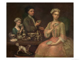 Family of Three at Tea, c.1727 Giclee Print by Richard Collins