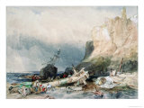 Tynemouth Castle, Tyne and Wear, with Wreck Giclee Print by George Balmer