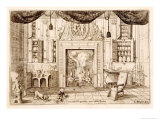 Interior, Drawing Room from Cornelio Meyer Nuovi Ritrovamenti 1696, Etching Giclee Print by Cornelis Jansz. Meyer
