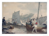 Fishing Boats Unloading Lmina gicle por John Augustus Atkinson