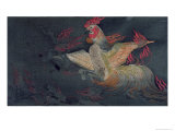 Monstrous Animal with the Head of a Cock, Spitting Flames, Illustration from the Jigoku Zoshi Giclee Print by Tokiwa Mitsunaga 