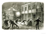 The Federals Shelling the City of Charleston: Shell Bursting in the Streets in 1863 Gicl&#233;e-Druck von Frank Vizetelly