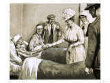Unidentified Woman Shaking Hands with Patient in Hospital Giclee Print by Frank Marsden Lea