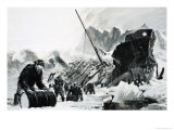 Unidentified Ship Wreck on an Icy Glacier Giclee Print by Graham Coton