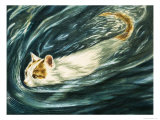 Cat That Loves to Swim, 1964 Giclee Print